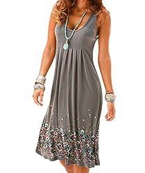 Akery Womens Summer Casual Sleeveless Mini Printed Vest Dresses Gray X Large