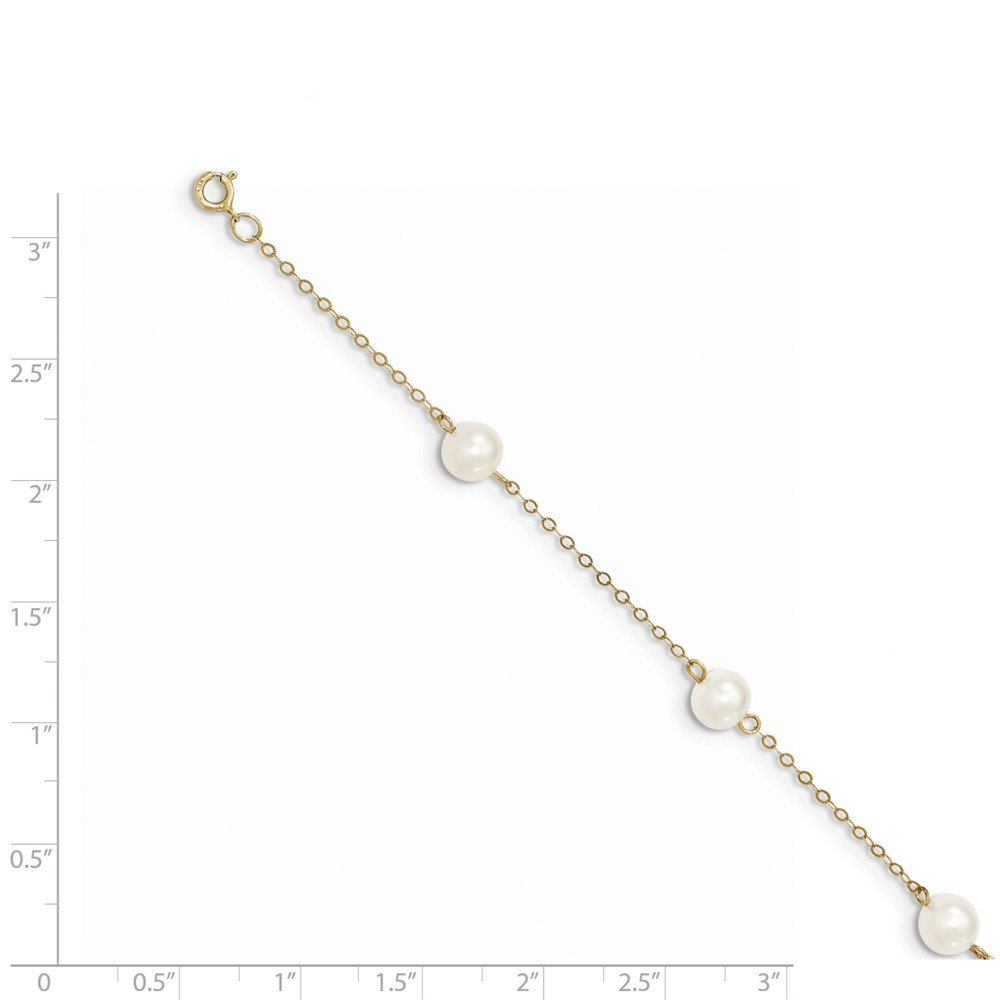 Real 14kt 6-7mm White Near Round Freshwater Cultured Pearl 6-station Anklet