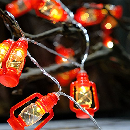 1Meter 10LEDs Mini Kerosene LED String Lights,Fairy String Lighting Battery Powered for Christmas Home Wedding Party Bedroom Birthday Decoration,Red -
