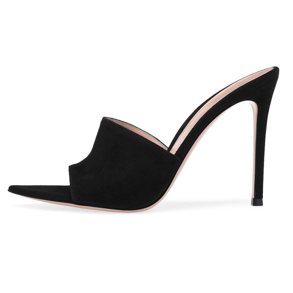 LYY.YY Sandalias De Tacón Alto para Mujer Zapatillas Mulas Zapatos De Tacón De Aguja Correa del Anillo Abierto Chanclas (Altura del Tacón: 11-13Cm),Black,46 46|Black