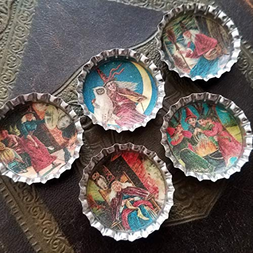 Set of 5 Vintage Style Magnets Spooky Victorian Halloween Old Witch Witchcraft Theme ()