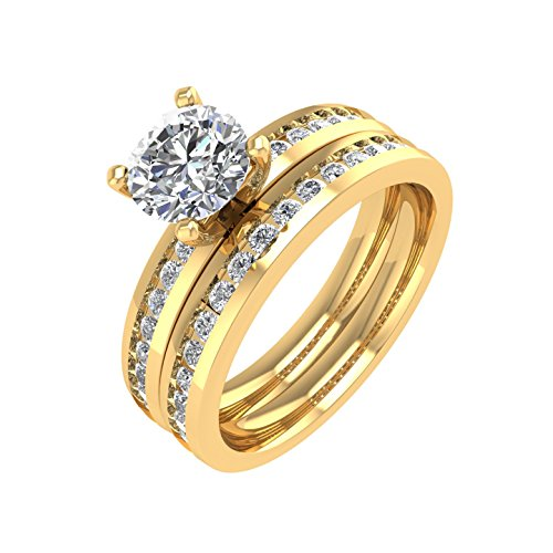 18K Yellow Gold Diamond Engagement Wedding Ring Bridal Set (1 1/4 carat) - IGI Certified