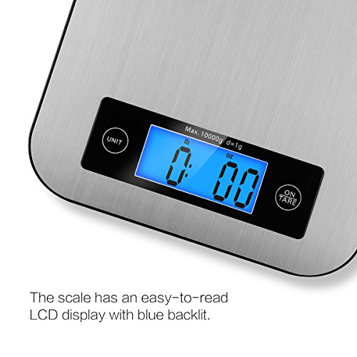 Digital Kitchen Scale Food Scales, TOBOX Postage Scale Multifunction Stainless Steel Accuracy with LCD Display and Tare Function for Baking and Cooking (Sliver) by TOBOX (Image #2)