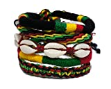 Bundle Set of Friendship Bracelets 5X Mix Reggae Rasta Plaided Hippie Cotton Braided Wristband Cuff X