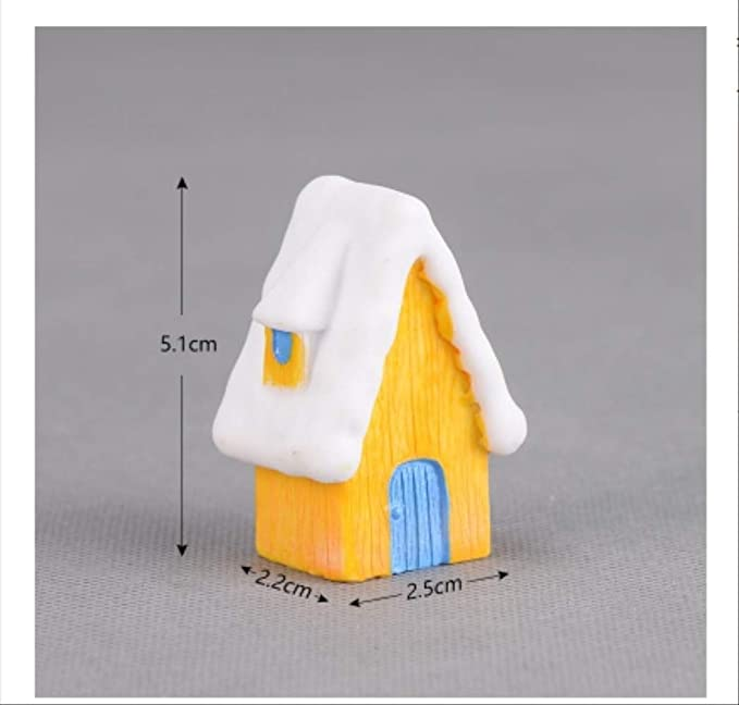 KWOSJYAL Adornos De Resina Figuras Casa De Nieve Jardín En Miniatura Bonsai Decoración Micro Paisaje Ornamento Jardín Micro Figuritas 2Pcs I: Amazon.es: Jardín