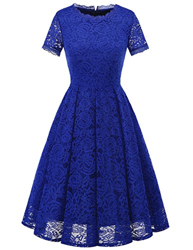 DRESSTELLS Women's Bridesmaid Vintage Tea Dress Floral Lace Cocktail Formal Swing Dress RoyalBlue L (Best Tea Length Wedding Dresses)