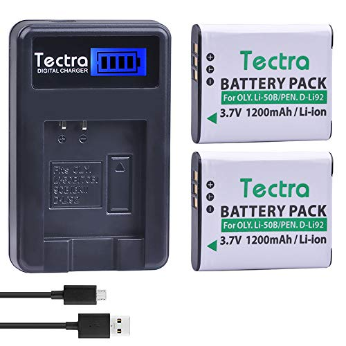 (Tectra 2Pcs 1200mAh Battery + LCD USB Charger for Olympus Li-50B,Pentax D-LI92 and Olympus SZ-15, SZ-16 iHS,SP-800UZ, SP-810UZ, Tough 6000,TG-630 iHS,TG-820 iHS,TG-830 iHS,TG-850, TG-870,VR-370,VR-340)