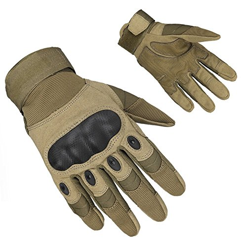 Adiew Full Finger Touch Screen Motorcycle Airsoft Tactical Riding Racing Training Army Shooting Breathable Military Mountain Bike Glove with Hard Knuckle for Men/Women(Brown,XL)
