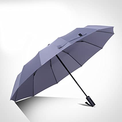 Paraguas Plegables Hombres y Mujeres Plegables Doce Paraguas de Hueso Completamente Automático Doble Grande Refuerzo a