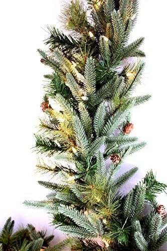 Pre-Lit Mountain Fir & Pine Garland 100 Clear Lights 9ft x 12in (Large Image)