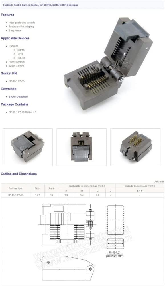 FP-16-1.27-05 SOP16 SOIC16 Programming Adapter Socket Test Burn-In Socket Enplas