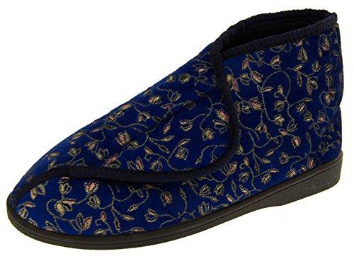 Womens Navy Adjustable Orthopaedic Slipper Boot 9 B(M) (Women Ortho Slippers)