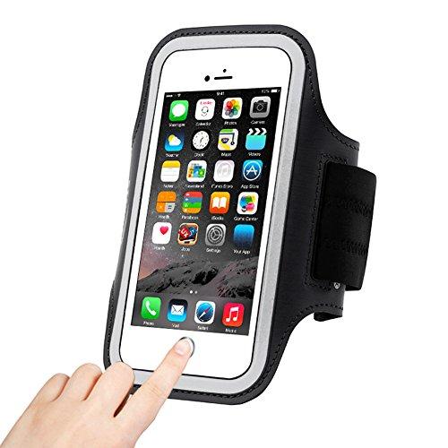 Sportarmband Handyhülle, Bukm Fingerabdruck Entsperrung Sport Armband für Handys Tragehülle 4.7-5.2 Smartphones iPhone 7/6/6S,Galaxy S7/S6/S5,iPhone 5/5S/SE