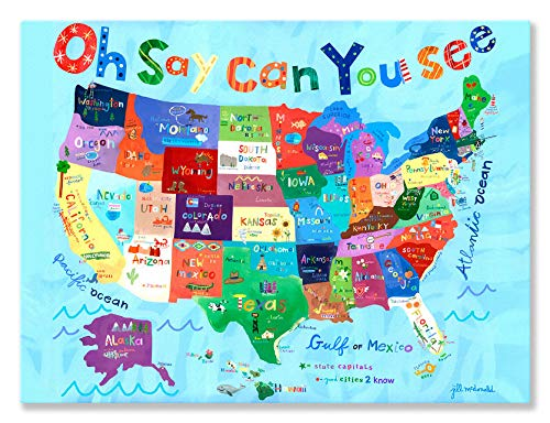 (Oopsy Daisy Oh Say Can You See USA Map Stretched Canvas Wall Art by Jill McDonald, 24 by 18-Inch)