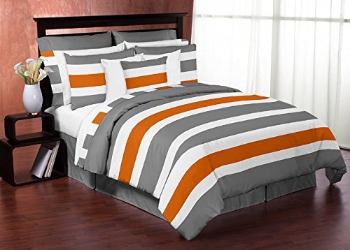 Sweet Jojo Designs 3-Piece Gray, Orange and White Childrens, Teen Full / Queen Boys Stripe Bedding Set Collection