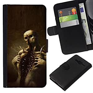 All Phone Most Case / Oferta Especial Cáscara Funda de cuero Monedero Cubierta de proteccion Caso / Wallet Case for Samsung Galaxy Core Prime // Skull Monster Scary Halloween