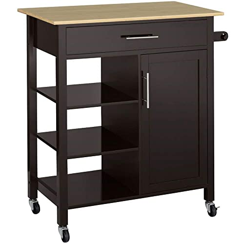 Topeakmart Rolling Kitchen Island Utility Cart on Wheels with Bamboo Top, Storage Shelves Drawer, Towel Rack Portable Trolley Cabinet