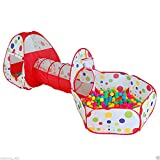 Ejoyous Kids Play Tent with Crawl Tunnel and Ball Pit Tent 3 in 1 Portable Playhouse Tent Set Indoor Outdoor Baby Play Tent Kit wth Carrying Bag for Children Toddler Girls Boys