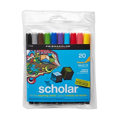 Prismacolor 1774269 Scholar Art Markers, Bullet Tip, Assorted Colors, 20-Count