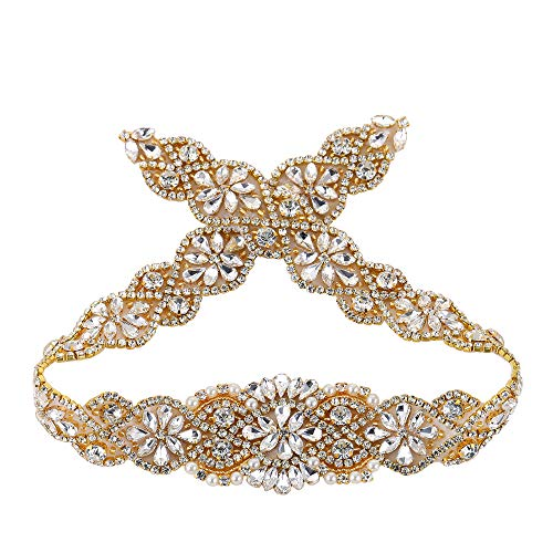(Gold 23.4 in Wedding Sparkly Beaded Rhinestone Applique Crystal Diamante Flower Patches Trimming Patches Belt for Wedding Dress Evening Gown Bridal Sash Belt Embellishment Decoration Handcrafted)
