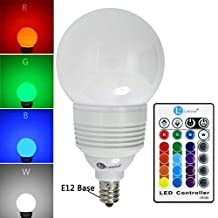 LONOVE Color Changing RGB 3W LED Light Bulb Remote E12