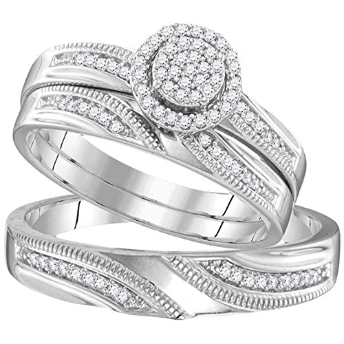 Sterling Silver His & Hers Round Diamond Cluster Matching Bridal Wedding Ring Band Set 1/4 Cttw (His And Her Diamond Wedding Rings)