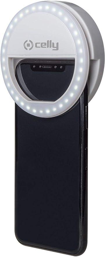 Clicklight universal recargable USB 3 tonos Celly Anillo de Luz Selfie con clip para Smartphones Blanco L