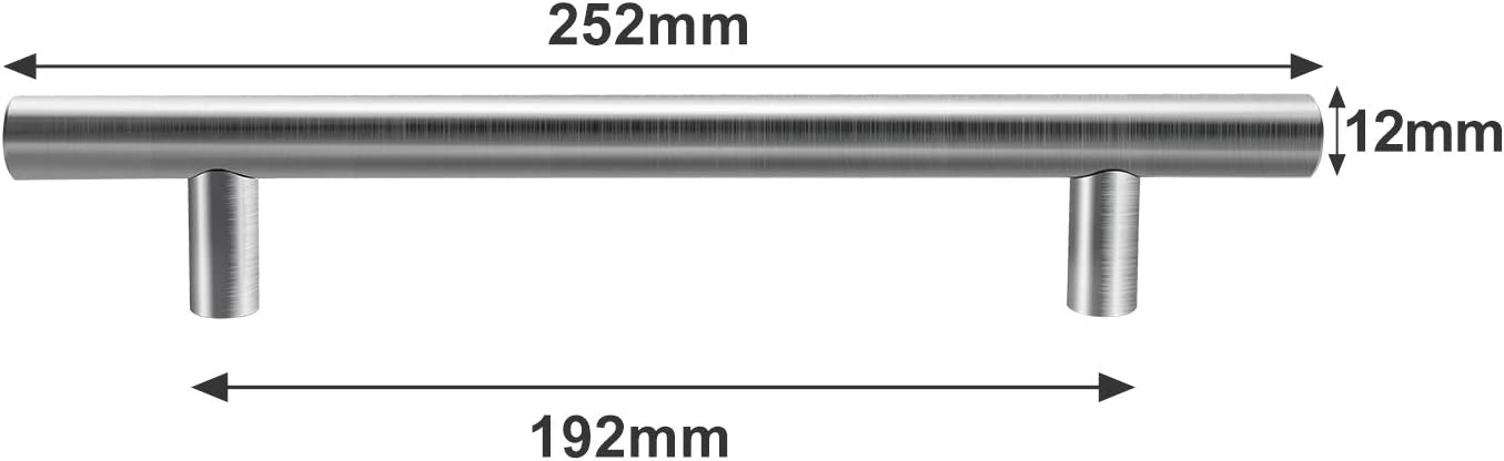 Hengda 10x M/öbelgriff 128mm Schrankgriffe Edelstahl Geb/ürstet Schubladengriffe K/üchenschrank T/ürgriffe K/üche Stangengriff Bohrlochabstand 128mm Gesamtl/änge 188mm /Ø 12 mm