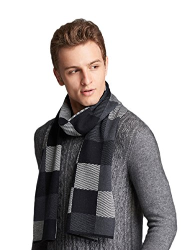 (RIONA Men's Merino Wool Blend Knitted Scarf - Soft Warm Cashmere Feel Neckwear with Gift Box (8047_Black))