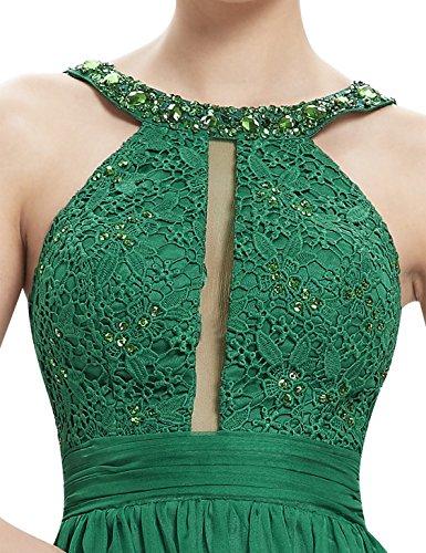 Dunkelgrün Lace Ever Lang V Abendkleid Pretty Party Rueschen Ausschnitt 08532 Sexy Mesh Damen rfY7wqrU