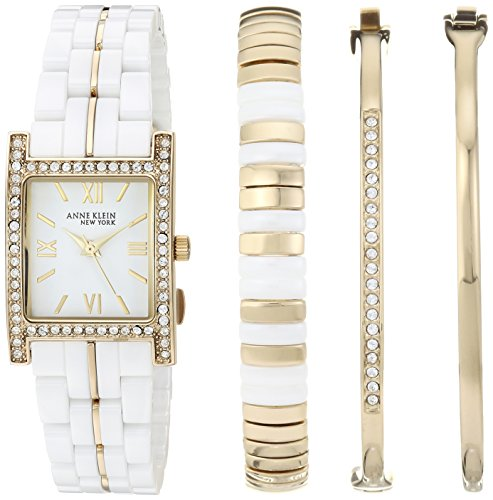 Anne Klein New York Women's 12/2272WTST Swarovski Crystal Accented White Ceramic Watch and Bracelet Set