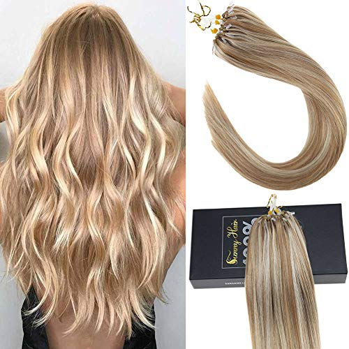Sunny 24inch Micro Loop Extensions Remy Hair Caramel Blonde Mixed Bleach Blonde #27/613 50G Micro Rings Beads Tipped Real Human Hair Extensions (Images Of Light Brown Hair With Caramel Highlights)