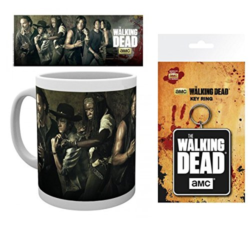 Set: The Walking Dead, Andrew Lincoln Photo Coffee Mug (4x3 inches) And 1 The Walking Dead, Keychain Keyring For Fans (6x3 inches)