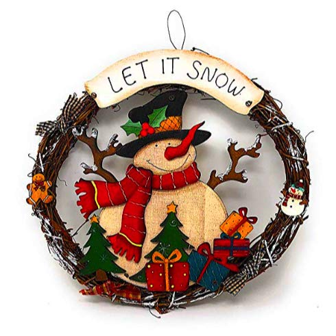 Grapevine Design Wall - BG Holiday Design Merry Christmas Wreath Decor, Grapevine Wreath Front Door, Window, Wall Featuring: Snowman Christmas Tree Presents (Let It Snow 12