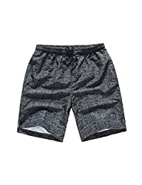 MADHERO Mens Boardshorts Quick Dry Printed Beach Swim Trunk Mesh Lining