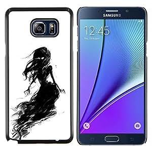 TECHCASE---Cubierta de la caja de protección para la piel dura ** Samsung Galaxy Note 5 ** --Negro de la tiza del carbón de leña de la bruja de la mujer