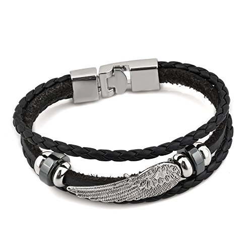 (LovelyCharms Angel Wing Black Braid Leather)