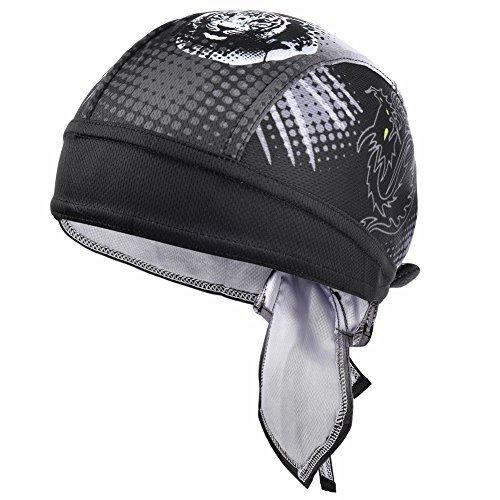 (Vbiger Sweat Wicking Beanie Skull Cap Quick Dry Adjustable Cycling Hat Wrap Doo Rag for Men Women (Dragon Tiger Pattern))