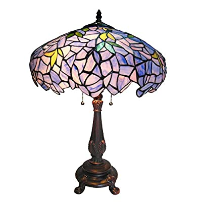 Chloe Lighting CH16828P-TL2 Tiffany-Style Wisteria 2-Light Table Lamp with 16-Inch Shade