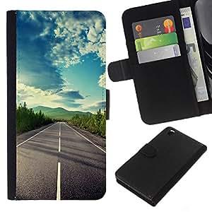 Planetar® Modelo colorido cuero carpeta tirón caso cubierta piel Holster Funda protección Para HTC DESIRE 816 ( Open Road Libertad Sky Drive verano )