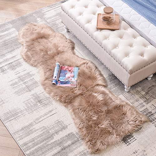 LEEVAN Sheepskin Rug Faux Fur Rug Super Soft Fluffy Chair Cover Seat Shaggy Single Pelt Floor Mat Carpet Accent Home Decor Coffee, 2 x 6