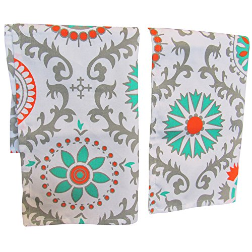 Crabtree Collection Premium Quality Set of 2 Kitchen Dish Towels 100% Cotton Absorbent Tea Towels - Classy Teal Medallion Design - Ideal 18 x 28 Dimensions ...