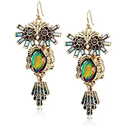 Betsey Johnson Surreal Forest Colorful Owl Drop Earrings