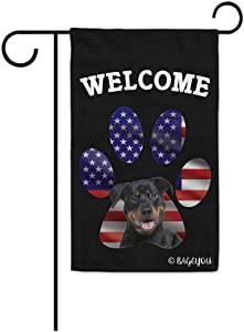 BAGEYOU Bless to United State with My Love Dog Rottie Welcome Decorative Garden Flag Cute Puppy Paw American Flag Patriotic Home Decor Banner for Outside 12.5X18 Inch Printed Double Sided