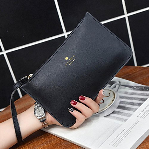 Bag Black Leather wallet GINELO Coin Fashion Bag Bags Women's Handbag Messenger Phone qgPwPYS
