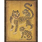 This unique hanging scroll exhibits a perfect reproduction of Joseon dynasty (1392-1910) folk painting called Minhwa. This particular work exhibits a tiger and two little leopards. In the Eastern world since ancient times, the tiger has been ...