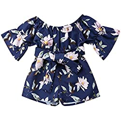 Kids Toddler Baby Girls Summer Outfit Off-Shoulder Overall Romper Jumpsuit Short Trousers Clothes (6-12 Months, Navy)
