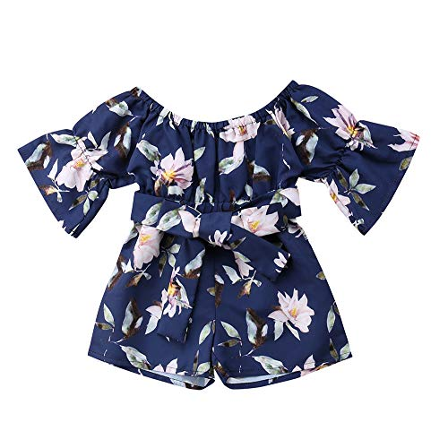Kids Toddler Baby Girls Summer Outfit Off-Shoulder Overall Romper Jumpsuit Short Trousers Clothes (2-3 Years, Navy)
