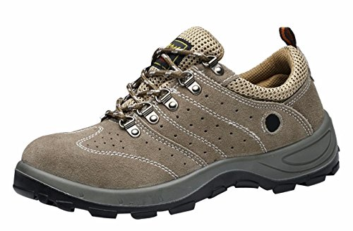 Women's Men's Safety Shoes Breathable Work Athletic Trainer Style Outdoor Proof Footwear Brown Nubuck Leather Size US8.5 EU40 by Jiu du