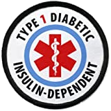 TYPE 1 DIABETIC Insulin Dependent Medical Alert 2.5 inch Black Rim Sew-on Patch with Velcro Back